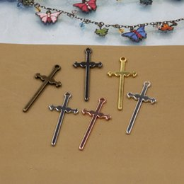 $enCountryForm.capitalKeyWord Canada - 07827 40*17mm antique bronze silver rose gold gun black cross charms for jewelry making, religious crucifix necklace pendants for bracelet