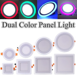 Wholesale fast ship Round Square LED Panel Light Dual Color Red Green Blue Pink White W W W W Ultra Slim Recessed LED Ceiling lamp Lights