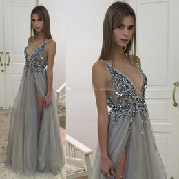 Barato Profundo Azul V Vestidos De Pescoço-2017 New Sexy Paolo Sebastian Vestidos de noite Deep V Neck Sequins Tulle High Split Long Grey Evening Gowns Sheer Backless Prom Party Vestidos