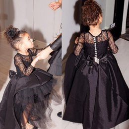 Discount big red ball gown dresses - Black Ball Gown Flower Girl Dress Hi Lo Little Gowns Long Sleeves Pageant Dresses With Big Bow