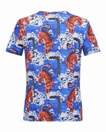 Asiatique Xl M Pas Cher-2017 Fashion Men's Casual Cotton Tiger print à manches courtes T-Shirts Slim t-shirt mâle taille asiatique