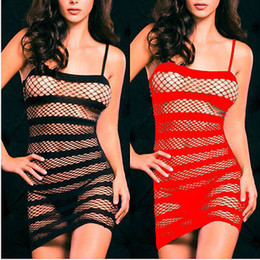 Robes Sexy En Résille Rouge Pas Cher-Sexy Lingerie Fishnet Crotchless Open Crotch Dress Bodystocking Fétiche Noir Rouge
