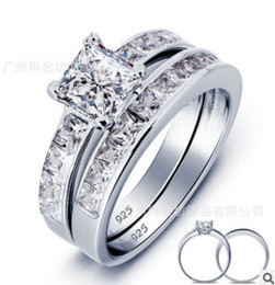 New! Hot Sale Real 925 Sterling Silver Wedding Ring Set for Women Silver Wedding Engagement Jewelry Wholesale N64