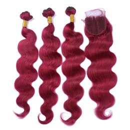 Discount brazilian wavy hair 22 inch - Peruvian Body Wave Human Hair 3 Bundles With Lace Closure Burgundy 99J Virgin Human Hair Wavy Pure Color Hair Extension