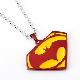 Discount superman batman necklace - Free Shipping New Arrival Batman Superman War Necklace Fashion Batman Superman Logo Pendant Alloy Necklace Movie Jewelry