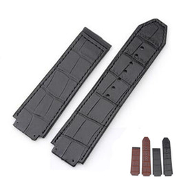 China 25 * 19 mm Fit For Hub Watch Bands Belt Double Side Genuine Leather Layer With Rubber Watch Strap + Tool suppliers