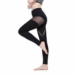 mesh yoga pants Canada - Women Mesh Design Yoga Gym Running Leggings High Elastic Workout Pants Quick Dry Active Clothes For Lady Breathable Size: S-XL New Fashion