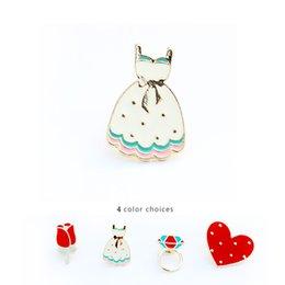 Enamel Rose Brooch Canada - Wholesale- fashion jewelry accessories metal enamel cute rose flower skirt heart brooch pin