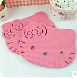 dish stands 2019 - Wholesale- (5 Pcs Lot) Hello Kitty Kitchen High Temperatures Stand Pot Mat Table Dish Placemat Pads discount dish stands