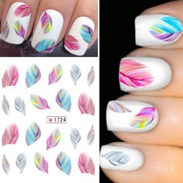 Feather Sheets Canada - Wholesale- 3 Sheet New Rainbow Colorful Feather Nail Art Sticker Water Transfer Decals Decoration