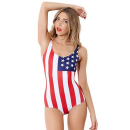 Barato Biquínis Sexy Bandeira Americana-2017 Belly Thin Swimsuit Swimwear American Flag Swimsuit Mulheres Black Bathing Suit Smart Sexy Bikini One Piece Beachsuit Atacado