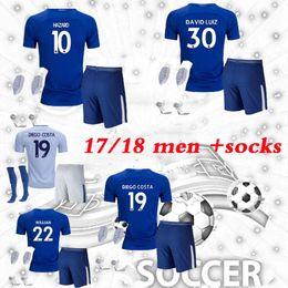 adult kitssocks 2017 2018 chelsea soccer jersey 17 18 hazard kante diego costa fabregas .