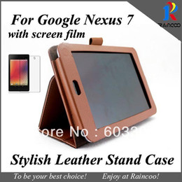 $enCountryForm.capitalKeyWord NZ - Wholesale- PU leather case for Google Nexus 7 tablet pc + Screen Protector, for google 7 tablet stand cover and Clear Screen film