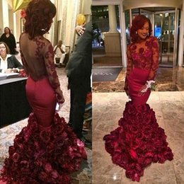 $enCountryForm.capitalKeyWord Canada - Burgundy Mermaid Evening Dresses 2019 Long Lace Floral Evening Dress Sexy Backless Prom Dress Vestidos De Novia formal dress Custom Made