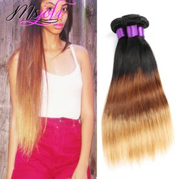 ombre hair extensions 22 inch NZ - Indian Virgin Hair Weave 9A Ombre Color Three Tone Straight Human Unprocessed Hair Extension Weft Three Pcs T1b-4-27