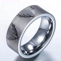 $enCountryForm.capitalKeyWord Canada - Couples Pipe Cut real tungsten carbide ring new fashion Jewelry Finger ring for men and women with antler symbol engraved hot sales style