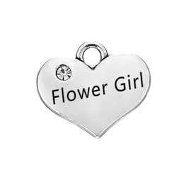 $enCountryForm.capitalKeyWord Canada - Engraved Words Flower Girl with Clear Crystal Heart Pendant With Antique Silver Plated Fashion Charm DIY Necklaces&Bracelets