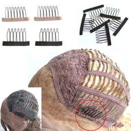 hair insert comb 2019 - black brown 6teeth Wig combs Clips lace Attach Caps Wig Combs Insert Wig Clips hair extensions tools cheap hair insert c