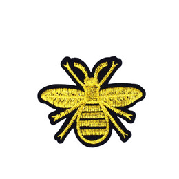 Wholesale gold applique iron resale online - 10PCS Gold Bee Embroidered Patches for Clothing Iron on Transfer Applique Patch for Jeans Bags DIY Sew on Embroidery Kids Stickers