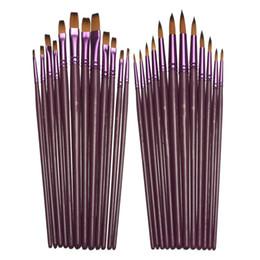 Großhandel Verschiedene Größenkünstler Fine Nylon Haarfarbe Pinsel Set für Aquarell Acryl Ölgemälde Pinsel Zeichnung Kunst Supply 12pcs / set x 20 Set