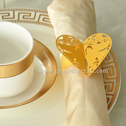 $enCountryForm.capitalKeyWord NZ - 50pcs Free Shipping Laser Cut Towel Buckle love heart with birds shaped Paper Wedding Decorations Napkin Ring for Party Table Decoration