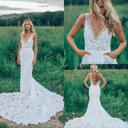 $enCountryForm.capitalKeyWord Canada - 2019 Garden Style Sexy Empire Wedding Dress with Pockets Sheath Deep V Neck Backless New Lace Long Bridal Gowns Custom Made Hot Sale