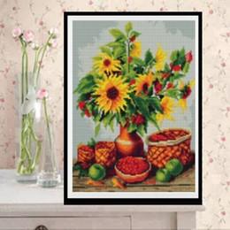 Oil Painting Round Australia - YGS-510 DIY Full 5D Diamond Embroider The Sunflower Round Diamond Painting Cross Stitch Kits Diamond Mosaic home Decoration