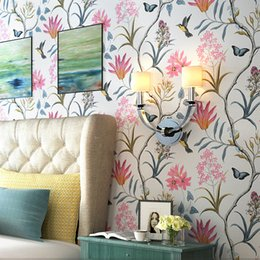 American Style Rustic Wallpapers Pastoral Flowers Birds 3D Non Woven Wall  Paper For Bedroom Living Room TV Background Wall Decor