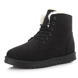 $enCountryForm.capitalKeyWord Canada - Suede Snow Boots Lace-Up Bootie Super Thick Antificial Short Plush Lining Boot Women Winter Shoes Round Toe Waterproof Flat Heel Ankle Boots