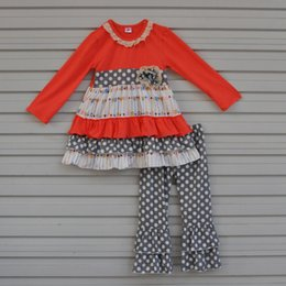 Baby Clothing Clothes Canada - Wholesale- 2017 Hot Sale Long Sleeve Baby Girls Boutique Outfits Cute Arrow Print Dress Polka Dots Pants Kids Ruffle Clothing Sets F097