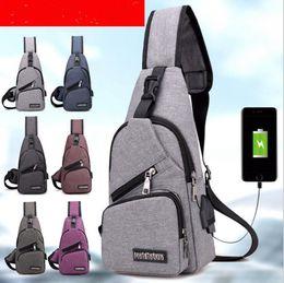 90bf87439c72 Men USB Chest Bag Sling bag Large Capacity Handbag Crossbody Bags Shoulder  Bag Charger Messenger Bags 6 Colors OOA3309