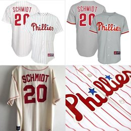 2e7920a9e Mens Mike Schmidt Philadelphia Phillies Home White Sewn Jersey Throwback  Stitched Embroidery Logos .