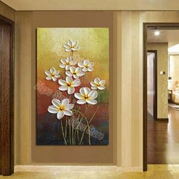 $enCountryForm.capitalKeyWord Canada - 100% Hand painted oil painting on canvas nice white flowers modern simple style home wall art decoration painting