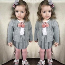 Outfit Cardigans Canada - Acrylic Girls Outfit Suspender Skirt Set Stella Boutique Clothing Set Spring and Autumn Knitted Baby Girls Sweater Cardigan