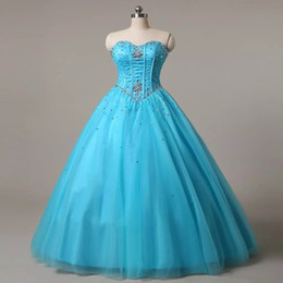 Barato Vestidos De Dança São Rápidos-2018 Vestido Quinceanera Querida Beaded Collar Exposed Corset Desbastante Organza Sweet 16 Party Prom Gowns Fast Shipping