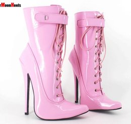 Purple Martin Boots Australia - Women Sexy Fetish Shoes High Heeled Boots Pointed Toe Thin Heels Man Motorcycle Boots Ankle Strap Patent Leather Lace-up Plus Size
