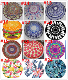 Discount towels designers - 36 Styles New Designer Large Round Beach Towels Tapestry Boho Printed Acylic BeachThrow Yoga Mat Wall Hanging Large Shaw