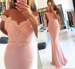 Barato Vestidos De Sereia Com Contas De Rosa-Blush Pink Mermaid Dresses Evening Wear Off the Shoulder Lace Beaded Prom Vestido Long Sweep Train Vestido de dama de honra Vestidos festa