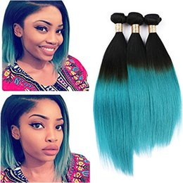 ombre human hair wefts Canada - Hotsell Virgin Brazilian Green Ombre Human Hair Weaves 3Pcs Silky Straight Two Tone 1B Green Ombre Human Hair Bundles Double Wefts