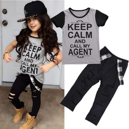 $enCountryForm.capitalKeyWord Canada - 2017 2PCS Fashion Kids Clothes Baby Cool Girls Top Letter T-shirt + Pants Leggings Outfits Clothes Age 2-7Y