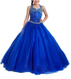 $enCountryForm.capitalKeyWord Canada - Royal Blue Junior Halter Gowns Girls Beaded Pageant Dresses Kids Dance Party Special Occasion Princess Gowns