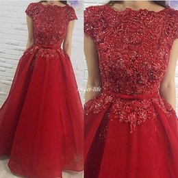 Wholesale Red Short Sleeve Prom Dresses A Line Elegant Boat Neck Sash Beading Tulle Floor Length Women Formal Evening Gowns Dress for Party Cheap