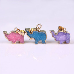 $enCountryForm.capitalKeyWord Canada - Brazilian Elephant Druzy Pendant Unique Natural Purple Pink Blue Druzy Pendant Lucky Peace Animal Baby Elephant Gold Edged Charms Wholesale