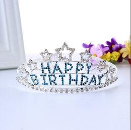 Diamond Ball Hair Canada - Wholesale high quality Europe birthday party five star diamond crown crown heart-shaped comb fashion headdress hair accessories3-28
