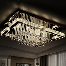 2016 Modern Luxury Pandant Light Rectangular LED K9 Crysal Chandelier Ceiling Mounted Crystal Fixutres Foyer Chandeliers For Living Room
