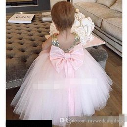$enCountryForm.capitalKeyWord NZ - Cupcake Wedding Holy First Communion Dresses Big Bow Gold Sequins 2018 Cheap Baby Child Flower Girl Dresses Ball Gown Little Kids for Party
