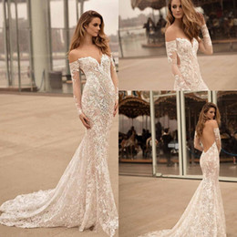 Open sided skirt online shopping - Long Sleeves Off the Shoulder Wedding Dresses Berta Bridal Sweetheart Neckline Elegant Sexy Open low back Lce applique wedding gown