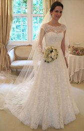 $enCountryForm.capitalKeyWord Australia - Hot sale capped sleeves full lace wedding dresses bridal gowns with bow button back sweep a line vestidos de novia