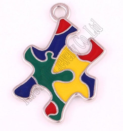 autism awareness charms NZ - New Arrival Autism Awareness Pendants With Holes Puzzle Piece Jigsaw Pattern Hand Applied Enamel Colors Charm