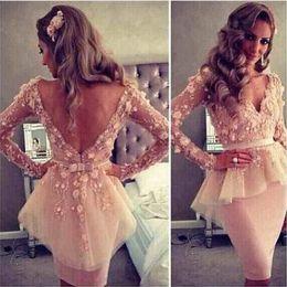 Discount long evening peplum dresses back drape - 2017 Myriam Fares Blush Pink Long Sleeves Short Cocktail Dresses Lace Flowers Sheath V Neck Backless Peplum Celebrity Ev